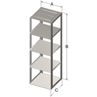 Stainless Steel Chest Rack for 5.75 x 5.75 x 4.75-Inch High Boxes for 15 mL & 50 mL Tubes.