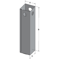 Cane Storage Container, SUC-1, Aluminum, with 16 Drain Holes (2.50 x 2.50 x 11 Inches).