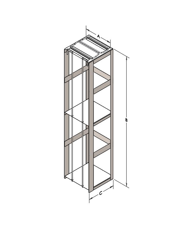 Rack for Storing (8) SUC Canisters, Stainless Steel with (2) Locking Rods.
