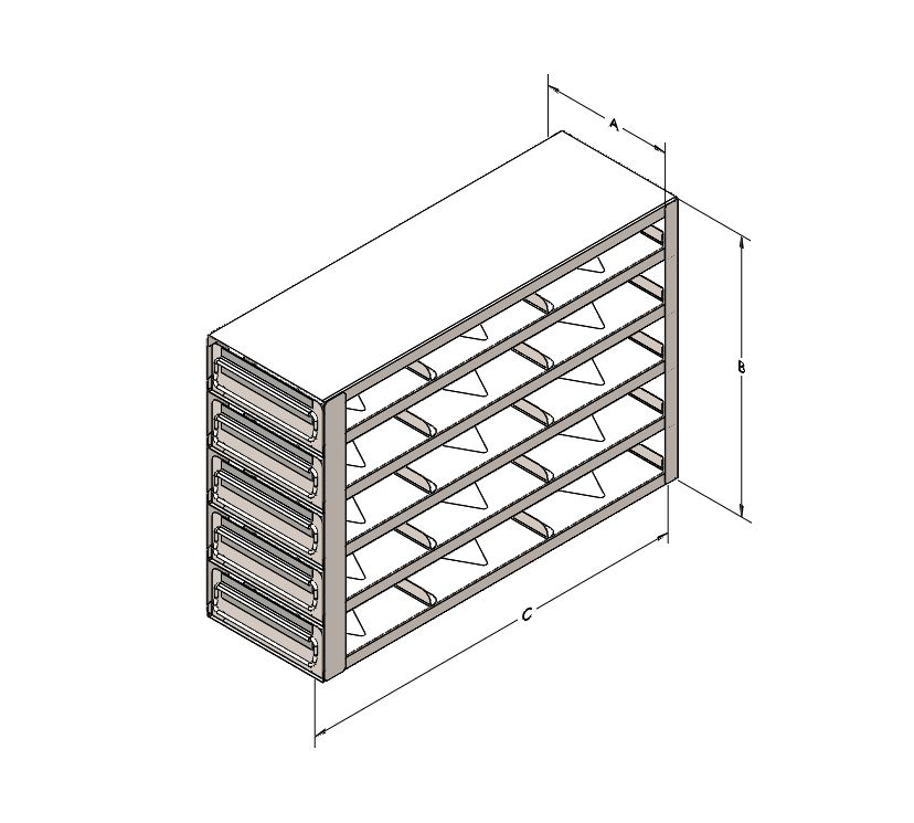"""Drawer Rack for 2"""" Bboxes, 5 High/3 Deep"""